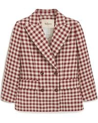 Mulberry Tura Jacket In Burgundy Gingham Check - Multicolor