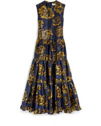Mulberry Muriel Dress In Bright Navy Floral Jacquard - Blue