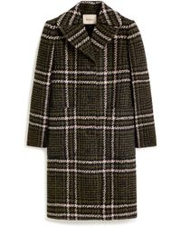 Mulberry Claire Coat In Deep Olive Large Tri-colour Check Boucle - Green