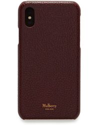 Mulberry Iphone X/xs Cover In Oxblood Natural Grain Leather - Purple