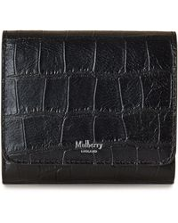 Mulberry - Small Continental French Purse In Black Soft Printed Croc - Lyst