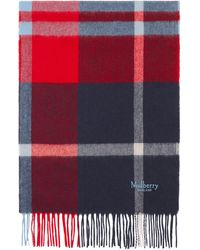 Mulberry Small Check Lambswool Scarf In Midnight Lambswool - Blue