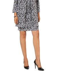 Alfani Leopard Print Pencil Skirt - Gray