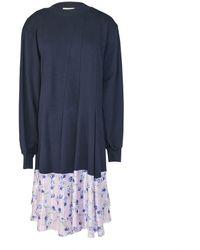 CLU Floral Contrast Paneled Dress - Blue