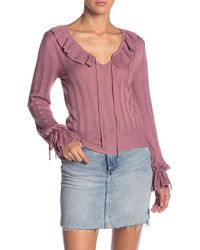 Cupcakes And Cashmere Ribbed Ruffle Trim Top - Pink