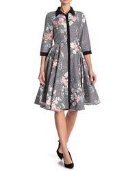 Gracia Floral Striped Shirt Dress - Black