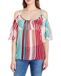 Plenty by Tracy Reese Cold Shoulder Silky Printedtop - Red