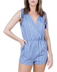 BB Dakota Striped Romper - Blue