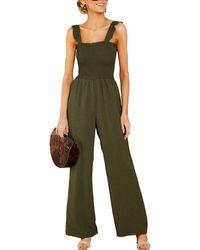 Sage the Label Smocked Jumpsuit - Green