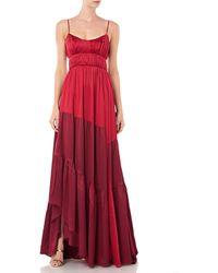 AMUR Zaidee Two Tone Silk Maxi Dress - Red