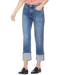 Vince Camuto Cuffed Straight Leg Jeans - Blue