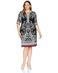 Sandra Darren Paisley Print Dress Plus Size - Black