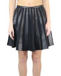 Yves Salomon Leather A-line Skirt - Black