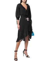 Cynthia Rowley Silk Chiffon Ruffle Wrap Dress - Black
