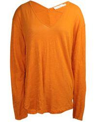 Lush V Neck Slub Top - Orange