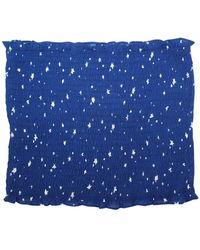 Honey Punch Star Smocked Crop Top - Blue