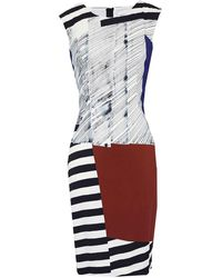 MILLY - Modern Print Midi Sheath Dress - Lyst