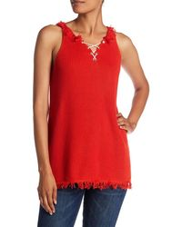525 America Lace Up Tank With Fringe - Red