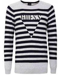 Guess Striped Logo Print Knit Jumper - Grey