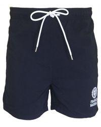 Franklin & Marshall Logo Print Swim Shorts - Blue