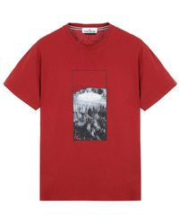 Stone Island Print T-shirt Red
