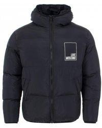 Moschino Love Box Logo Puffa Black Jacket