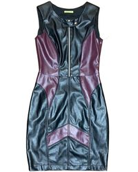 Versace Jeans Couture Leather Fabric Finish Women's Dress - Black