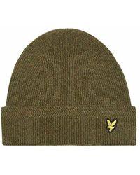 Lyle & Scott - Moss Green Racked Rib Wool Beanie Hat - Lyst