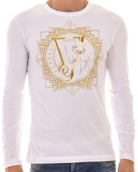Versace Jeans Couture - Long Sleeves Gold Geometry Print T-shirt - Lyst