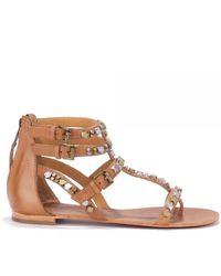 Ash Mykonos Nude Leather Studded Sandal - Brown