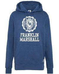 Franklin & Marshall Stamp Logo Hooded Sweatshirt - Blue