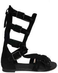 Ash Maya Taupe Suede Sandal - Black