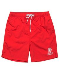 Franklin & Marshall Logo Print Swim Shorts - Red