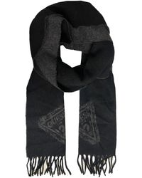 Guess Black And Grey Wool Fringe Scarf