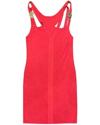 Versace Jeans Couture Gold Metal Branding Women's Dress - Red