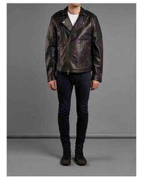 Muubaa - Harrington Textured Leather Biker Jacket In Black - Lyst