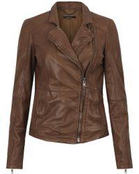 Muubaa - Kendyll Distorted Leather Biker Jacket In Burnt Sienna - Lyst
