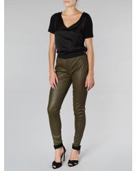 Muubaa Cowley Stretch Olive Leather Leggings - Green