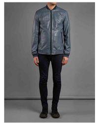 Muubaa Lammas Leather Bomber Jacket In Bluish Grey - Gray