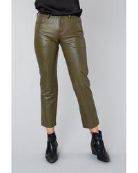 Muubaa Blake Olive High Waist Trousers - Green