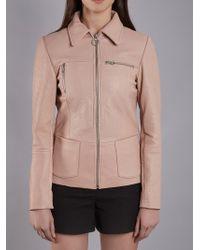 Muubaa Rhode Blush Bubble Leather Jacket - Pink