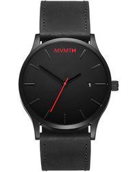 MVMT Men's Classic Date Leather Strap Watch - Black