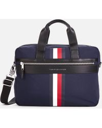 5a585275e Tommy Hilfiger - Laptop Bag With Icon Stripe And Faux Leather Contrasts In  Navy - Lyst