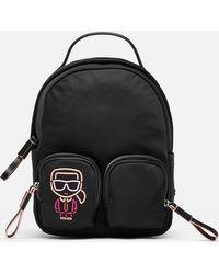 Karl Lagerfeld Ikonik Biarritz Nylon Small Backpack - Black
