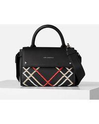 Karl Lagerfeld K/ikon Whipstitch Mini Top Handle Bag - Black