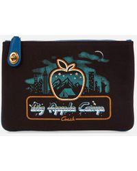 COACH Retro Big Apple Camp Canvas Turnlock Pouch - Black