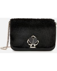 Kate Spade Nicola Faux Fur Twistlock Chain Wallet - Black