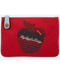 COACH Retro Big Apple Camp Canvas Turnlock Pouch - Red
