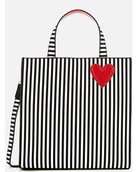 Lulu Guinness Stripe Hearts And Lips Davina Tote Bag - Multicolor
