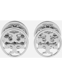 Tory Burch Logo Circle-stud Earrings - Metallic
